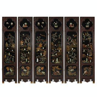 Chinese Lacquer Jade 6-Panel Screen w/ Jade Insets