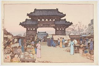 "Hiroshi Yoshida ""Market in Mukden"" Japanese Woodblock Print"