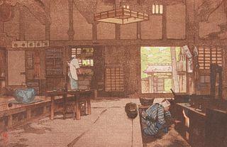 "Hiroshi Yoshida ""Farm House"" Japanese Woodblock Print"