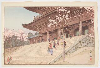 "Hiroshi Yoshida ""Chion-In Temple Gate"" Japanese Woodblock Print"