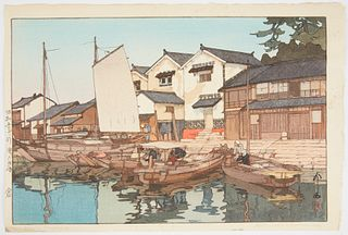 "Hiroshi Yoshida ""Kara in Tomonoura"" Japanese Woodblock Print"