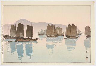 """Hiroshi Yoshida """"Morning of Abuto"""" Japanese Woodblock Print"""
