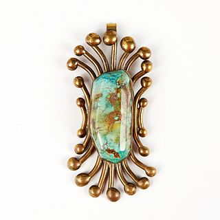 20th c. Agrella Bronze and Turquoise Brooch Pendant