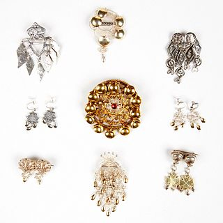 Grp: 20th c. Norwegian Solje Jewelry Gold & Silver