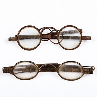 Grp: 2 Coin Silver Spectacles Glasses - D. Chandler NYC