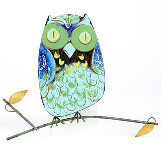 Curtis Jere Enameled Metal Owl Wall Sculpture