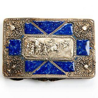 Ornate Faux Lapis Enamel Sterling Silver Box