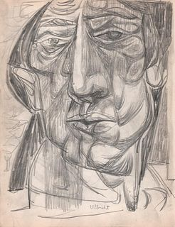 Portrait of a Man, Graphite Drawing 1949 by  John Ulbricht