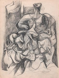 Portrait of Woman, Graphite, 1949, by John Ulbricht