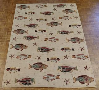 Modern Seascape Collection with Fish, Made in India, Wool - Courtesy of Shaia Oriental Rugs