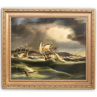 """Thomas Buttersworth (British, 1768–1842) """"The Gale of Plymouth"""" Oil on Canvas"""