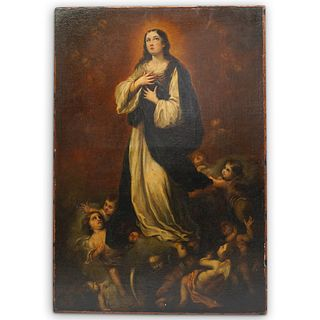 """Italian School, """"The Immaculate Conception"""" Oil on Canvas"""