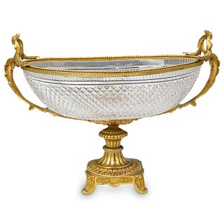 French Gilded & Cut Crystal Centerpiece