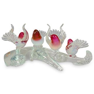 Renato Anatra (Italian, b.1943) Murano Glass Garden Birds Sculpture.