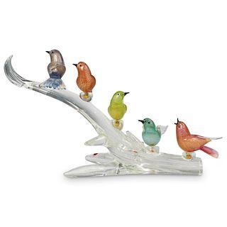 Vintage Murano Glass Garden Bird Statue