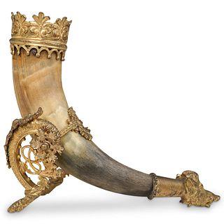 Antique Gilt Bronze Viking Horn