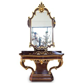 """Karges """"Venetian"""" Wooden Console and Mirror"""