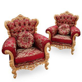 (2 Pc) Italian Custom Made Giltwood Armchairs