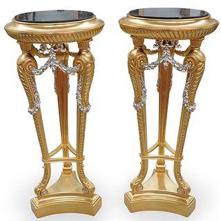 (2 Pc) Monumental Custom Made Giltwood Pedestals
