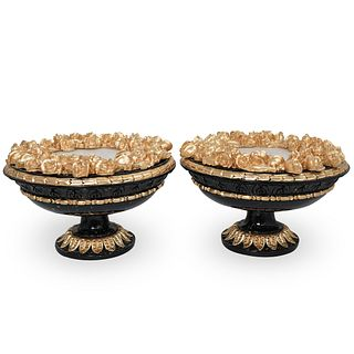 (2 Pc) Lacquered and Giltwood Table Lamps