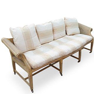 Baker Furniture Cane Wicker Sofa Bench