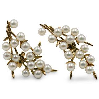 14 Karat & Natural Pearl Earrings