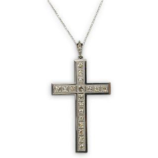 14K Gold & Diamond Deco Style Cross necklace