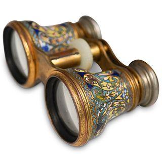"Antique Champleve ""Lamain"" Opera Binoculars"