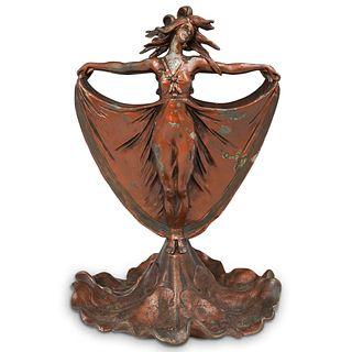 Art Nouveau Figural Metal Vase