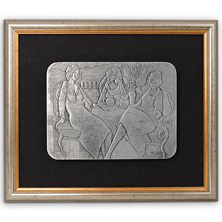 "Itzchak Tarkay (Israeli, 1935-2012) "" Three Ladies at Tea"" Aluminum Relief"