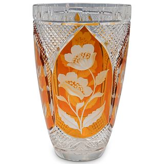Etched Bohemian Glass Vase