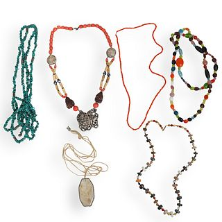 (6 Pc) Semi Precious Stone Beaded Necklaces