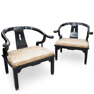 Pair Of Chinese Wooden Horse Shoe Chairs