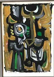 Abstract Gouache Painting by John Ulbricht 1949