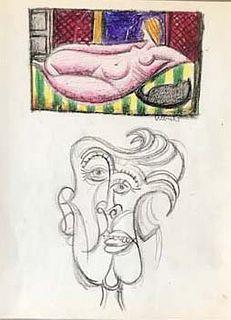 Reclining Nude & Portrait by John Ulbricht 1949