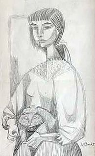 Woman with Cat by John Ulbricht 1949 Graphite, Framed