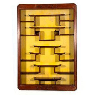 Chinese Exotic Hardwood Snuff Bottle Display Cabinet