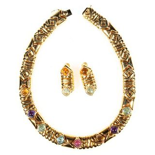 Kria semi-precious & 18k gold collar and earring set