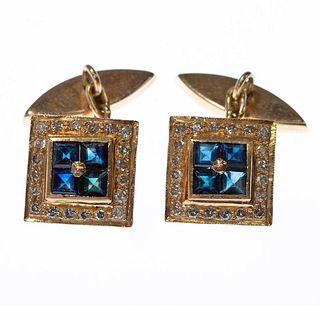 Pair of sapphire, diamond, 14k gold cufflinks