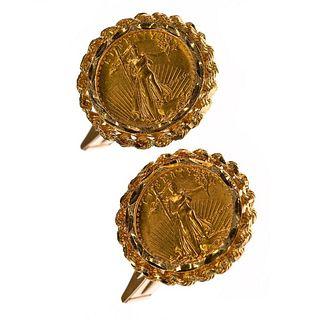 1987 $5 gold American Eagle coin, 14k gold cufflinks