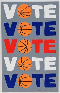 Jonas Wood Vote Modernist Basketball Screenprint