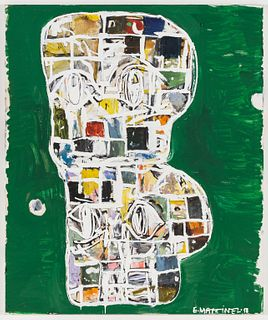 Eddie Martinez Double-Stack Blockhead Painting