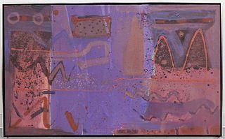 Sam Nhlengethwa Purple Geometric Abstract Painting