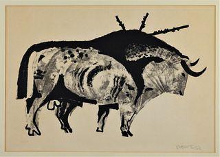 Joaquin Vaquero Turcios Modernist Bull Block Print