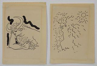 2PC Jean Cocteau Minotaur Figurative Lithographs