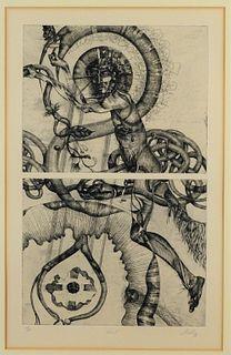 Fred N. Hollis Christ Modern Surrealist Engraving