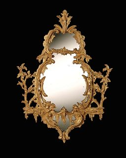 18th Century Chippendale Period Carved Giltwood Mirror
