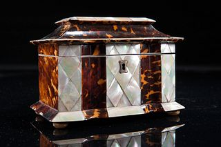 Regency Period Tortoise-Shell And Mother Of Pearl Tea Caddy