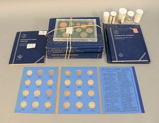 Large coin lot to include, 1 partial Indian album; 2 assorted cents albums; 2 Jefferson albums, 1 bag loose with cents and nickels, 1 Ireland coin set