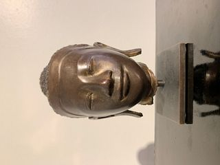 Small Mandalay Burmese Bronze Buddha Head, 19th Century